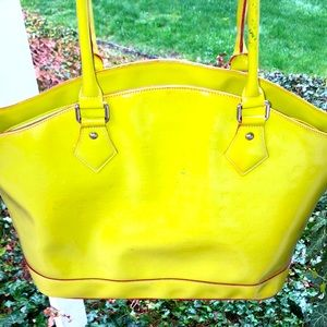 Arcadia Lime Green Patent leather Large Tote